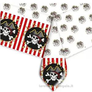 Tovaglia bianca e rossa Pirati Compleanno bimbo 140x270 cm - Party tavola