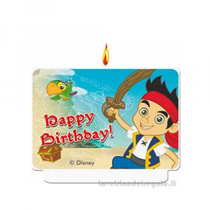 Candelina Capitan Jake in cera Compleanno bimbo 9x8 cm - Party torta