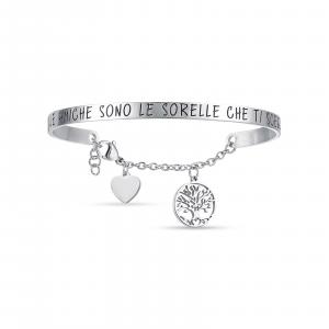 Luca Barra - Bracciale in acciaio con scritta le amiche sono le sorelle che ti scegli