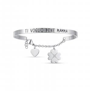 Luca Barra - Bracciale in acciaio con scritta ti voglio bene mamma