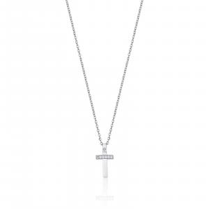Luca Barra - Collana in acciaio con croce con cristalli bianchi