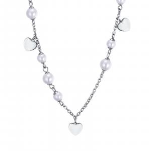 Luca Barra - Collana in acciaio con perle bianche e cuori