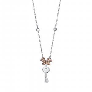 Luca Barra - Collana in acciaio con elementi rose chiave con cristalli bianchi