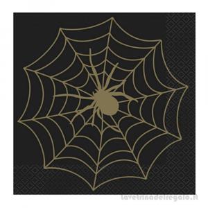 16 pz - Tovaglioli neri con Ragnatela Spiderman Compleanno bimbo 33x33 cm - Party tavola