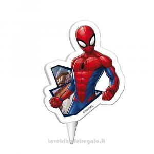 Candelina sagomata Spiderman in cera Compleanno bimbo 5x2x8 cm - Party torta