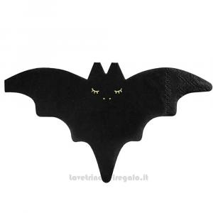 20 pz - Tovaglioli neri Pipistrello per Halloween 16x9 cm - Party tavola