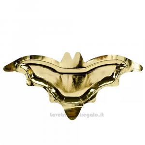 6 pz - Piatti oro Pipistrello per Halloween 37.5x18.5 cm - Party tavola