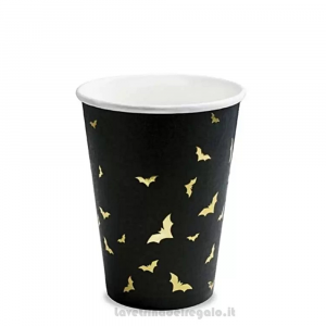6 pz - Bicchieri neri con Pipistrelli dorati Halloween - Party tavola
