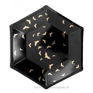 6 pz - Piatti neri con Pipistrelli dorati per Halloween 20 cm - Party tavola