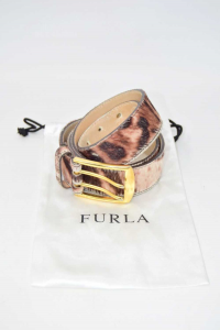 Cintura Donna Furla In Vera Pelle Cavallino 100 Cm