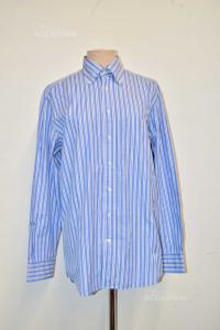 Shirt Man Striped Light Blue White Gant Size M