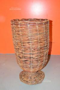 Vase Holder Wooden Plants Braided Height 60 Cm
