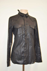 Shirt Woman Black Lookslike Leather Imperial Size L