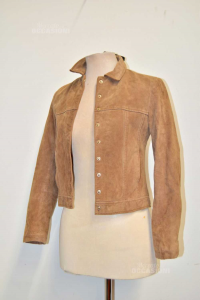 Giacca Donna MNG Tg S In Vera Pelle Beige