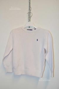 Maglione Bambino Bianco In Cotone Ralph Lauren Anni 6