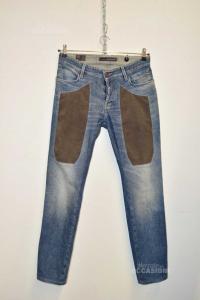 Jeans Uomo Jeckerson Con Inserto Alcantara Tg 33 Slim Fit