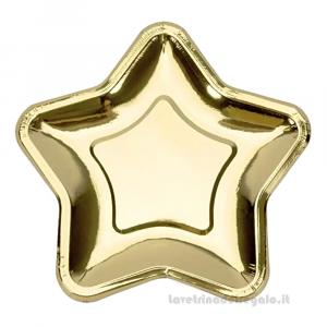 6 pz - Piatti oro Stella Compleanno bimba 23 cm - Party tavola