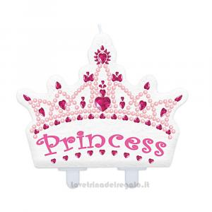Candelina Corona Principessa in cera Compleanno bimba 11x10 cm - Party torta