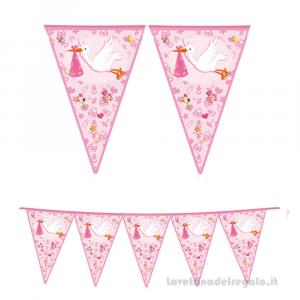 Ghirlanda bandierine Benvenuta Cicogna rosa Nascita bimba 6mt x 25cm- Party allestimento