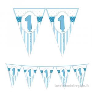 Ghirlanda bandierine celesti a strisce Primo Compleanno bimbo 6mt x 25cm - Party allestimento