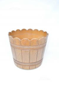 Holder Plants In Plastic Effect Wood Color Brown Diameter 30 Cm
