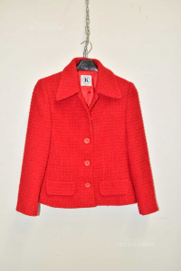 Cappotto Donna Rosso In Lana K Made In Italy Tg M