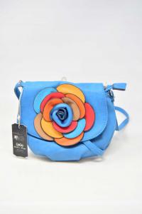 Shoulder Strap Woman In Similpelle New Deda Light Blue With Roses Multicolor 21 Cm Diameter