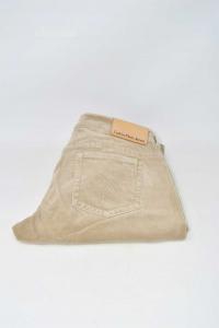 Pantalone In Velluto Beige Calvin Klein Jeans Tg W30-L34 Originali