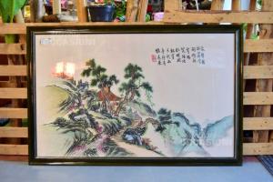Quadro Dipinto Su Carta Di Riso Raffigurante Un Paesaggio Giapponese, 120 X 78 Cm