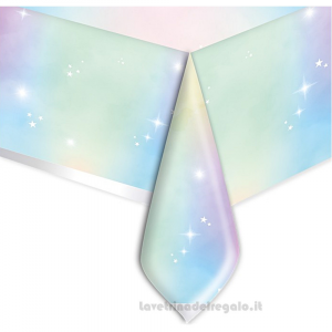 Tovaglia Soft Iridescent Rainbow Compleanno bimba 140x270 cm - Party tavola