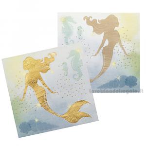 12 pz - Tovaglioli Sirenetta Oro Compleanno bimba 33x33 cm - Party tavola