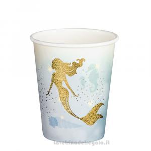 6 pz - Bicchieri Sirenetta Oro Compleanno bimba - Party tavola