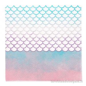 20 pz - Tovaglioli Sirena Mermaid Elegant Compleanno bimba 33x33 cm - Party tavola