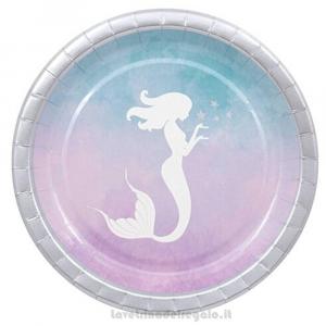 8 pz - Piatti grandi Sirena Mermaid Elegant Compleanno bimba 23 cm - Party tavola