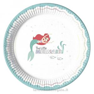 8 pz - Piatti grandi La Sirenetta Under the Sea Compleanno bimba 23 cm - Party tavola