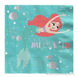 20 pz - Tovaglioli La Sirenetta under the Sea Compleanno bimba 33x33 cm - Party tavola