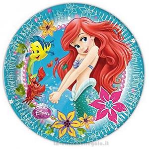8 pz - Piatti grandi Sirenetta Compleanno bimba 23 cm - Party tavola