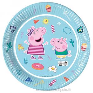 8 pz - Piatti grandi Peppa Pig New Compleanno bimbi 23 cm - Party tavola