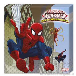 20 pz - Tovaglioli Spiderman Web Warrios Compleanno bimbo 33x33 cm - Party tavola