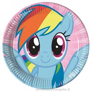 8 pz - Piatti grandi My  Little Pony Rainbow Compleanno bimbi 23 cm - Party tavola