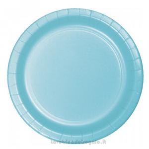 8 pz - Piatto grande Celeste Pastel Bue di carta 23 cm - Party tavola