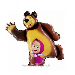 Palloncino sagomato Foil Masha e Orso Compleanno bimba 35 cm - Party allestimento