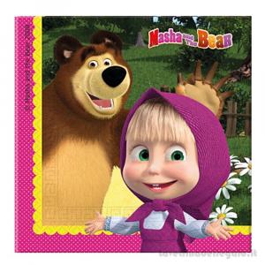 20 pz - Tovaglioli Masha e Orso Compleanno bimba 33x33 cm - Party tavola