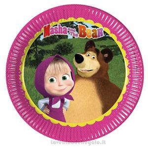 8 pz - Piatti grandi Masha e Orso Compleanno bimba 23 cm - Party tavola
