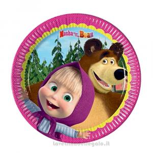 8 pz - Piatti piccoli Masha e Orso Compleanno bimba 20 cm - Party tavola