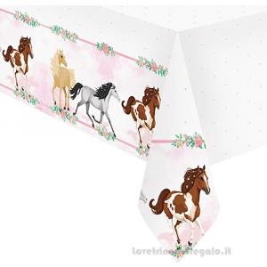 Tovaglia Beautiful Horses con Cavalli Compleanno bimba 120x180 cm - Party tavola