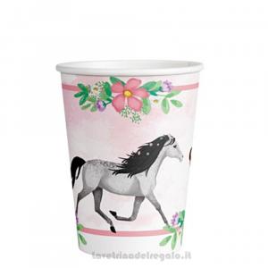 8 pz - Bicchieri Beautiful Horses con cavalli Compleanno bimba - Party tavola