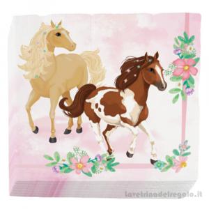 16 pz - Tovaglioli Beautiful Horses con cavalli Compleanno bimba 33x33 cm - Party tavola