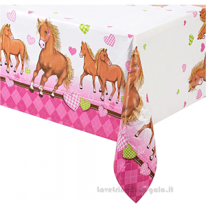Tovaglia Cavalli Cuore Compleanno bimba 120x180 cm - Party tavola