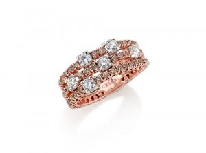 Anello in oro rosa e diamanti taglio Brillante bianchi e brown - Crieri